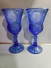 "Avon Fostoria Glass George Washington Colbalt Blue 8"" Goblet Set Of 2 Please."