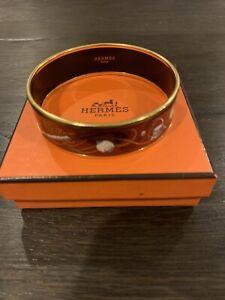 HERMES Red & White Enamel Bracelet