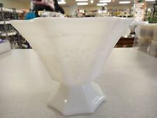 "Vintage 5"" MILK GLASS PLANTER Leaf & grape Clusters EO Brody Footed bowl MJ20"