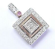 Princess & Round Cut NATURAL Diamond Pink Sapphire Square Pendant .54Ct 14KT