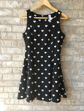 NWT H&M Divided Black Skater Dress Hearts Print Womens Size 8s