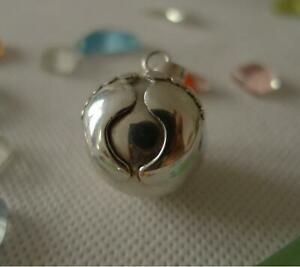 Baby Feet Harmony Ball/Mexican Bola Sterling Silver Pendant 20mm SilverandSoul
