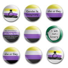 25mm LGBTIQA+ NONBINARY BUTTON BADGES X9 SET 2
