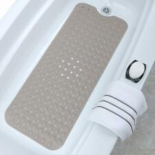 Bath Tub and Shower Mat Extra Long Non-Slip with Drain Holes Suction Cups Tan