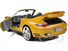 PORSCHE 911 (997) TURBO CONVERTIBLE YELLOW 1:18 MODEL CAR BY MOTORMAX 73183