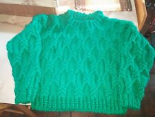 Handmade green cabled aran sweater for child size 6