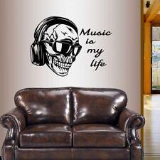 Wall Vinyl Decal Skull Headphones Sunglasses Music Is My Life Quote Sticker 238