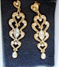 "AVON*OLD WORLD ELEGANCE PIERCED EARRINGS W/SURGICAL STEEL POSTS*2 1/2"" LONG*NIB"