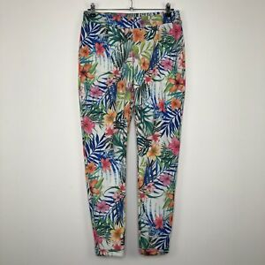 Womens PEACOCKS Casual White Floral Trousers Pants Size UK 12