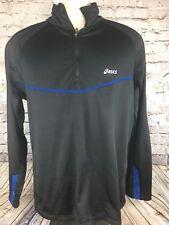 Men's ASICS Black  3/4 Zip Pull Over Jacket Size L Large #x