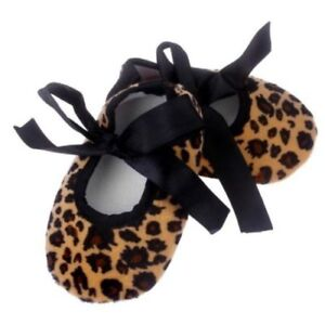 LEOPARD ANIMAL PRINT BABY TODDLER KIDS BALLET SHOES SLIPPERS 6-12 MOS 12-18 MOS