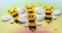 Felt Bumble Bees (4) Flying Insect Shapes, Die Cut Craft Embellishments