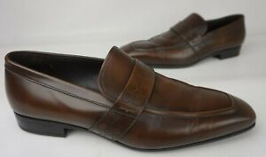 Salvatore Ferragamo Goliath Dark Brown Logo Perforated Loafers Dress Shoes 13 D
