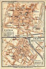 Antique map mappa plan Pistioa Prato Italy 1928