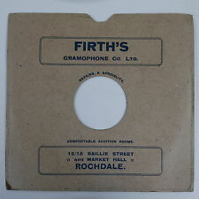 "10"" 78rpm card gramophone record sleeve FIRTH`S GRAMOPHONE LTD , rochdale"