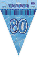 80th Blue Glitz Bunting - 12ft Long - Plastic Party Pennants Flag Banner