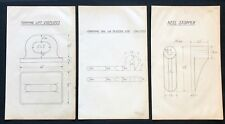 3 X Harland & Wolff Belfast 1930's Drawings EYEPLATE CARRYING DOG STOPPER - RF14