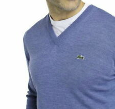 Lacoste Cotton Sweater Jumper BNWT size 4XL (9) V Neck Mens Blue Sweater