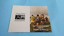 1990/91 CIAU/CIS/USPORTS RUGBY UBC THUNDERBIRDS POCKET SCHEDULE