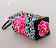 Retro Boho Ethnic Women's Embroidered Wristlet Clutch Bag Purse Wallet Handbag