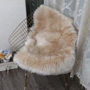 Double Natural Pelt Faux Fur Area Rugs Sheepskin Room Chair Mats Balcony Carpets