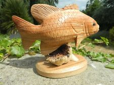 Wooden Fish Carving - Hand Carved Tropical Fish On Parasite Wood - Design B