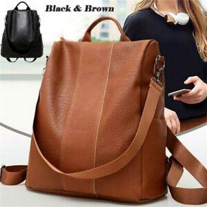Women PU Leather Backpack Large-capacity Anti-Theft Teenage Girls Shoulder Bag