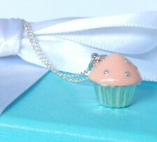 "Tiffany & Co Silver Pink Enamel Cupcake Pendant Charm 16"" Chain Necklace"