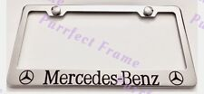 Mercedes Benz With Logos Stainless Steel License Plate Frame Rust Free W/Boltcap