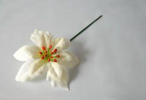 Artificial Velvet Ivory Poinsettia Flower Picks Christmas swag garland wreath