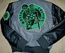 """BOSTON CELTICS EMBROIDERED """"UNK BLACK LABEL"""" GRAY WOOL JACKET YOUTH MED $145 NEW"""