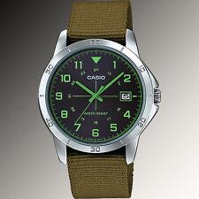 Casio MTP-V008B-3B Mens Analog Silver Tone Watch Green Fabric Band Date New