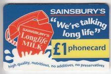 EUROPE  TELECARTE / PHONECARD .. U.K 1£ PRIVEE SAINSBURYS LAIT MILK 07/00 +N°