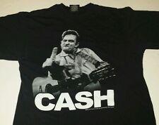 Johnny Cash Middle Finger Mens L TShirt man in black Country Music Folsom guitar