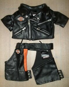 """Harley Davidson Faux Leather Jacket and Chaps for Teddy Bear 16"""""""