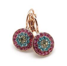 MARIANA Margarita Swarovski Rose Gold Earrings Jonquil Aqua & Rose Circle 1064