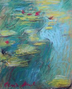 Rare fine unique pastels painting, water lilies, signed Claude Monet, w COA