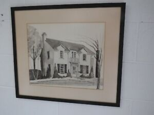 Milton Kemnitz original Pen & Charcoal of House 24 x 21""