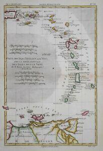CARIBBEAN - CARTE DES ISLES ANTILLES OU DU VENT BY R BONNE, CIRCA 1780.