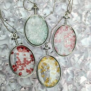 Silver Plated Rhinestones Oval Glass Bottles Pendant Necklace Various Colours