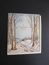 #K770- Vintage Unused Xmas Greeting Card Snow Covered Road Leading to Cottage