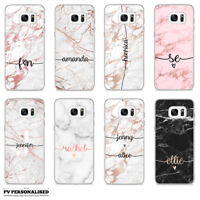 PERSONALISED ROSE GOLD MARBLE ENDLESS NAME INITIALS HARD CASE COVER FOR SAMSUNG