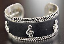 Black Leather Bracelet With Silver Treble Clefs (29340)