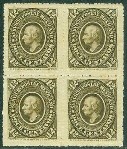 EDW1949SELL : MEXICO 1885 Sc #172 Block of 4 Mint OG. Scarce multiple. Cat $230+