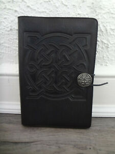 OBERON CELTIC KNOTS SHIELD BLACK EMBOSSED LEATHER JOURNAL NOTEBOOK DIARY COVER