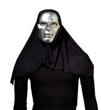 SCARY SILVER #SCI-FI ROBOT MASK WITH BLACK  HOOD FANCY DRESS OUTFIT ACCESSORY