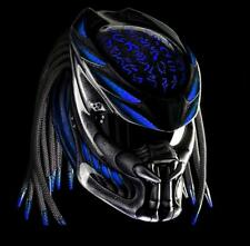 Helmet predator street fighter color  Blue alien message motif  for motorcycle