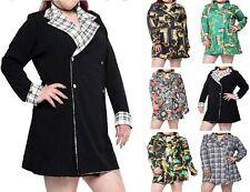 New Ladies Baroque Printed Plunge Wrapover Button Detail Mini Blazer Dress