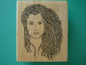 Female with a Mane of Hair, Detailed STAMP OASIS Rubber Stamp