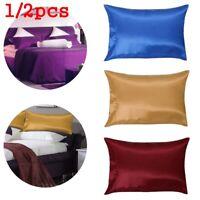 1/2 Pcs Soft Bedding Queen Throws Cushion Cover Satin Home Decor Silk Pillowcase